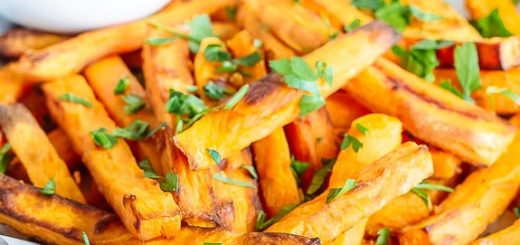 These garlic sweet potato fries are the perfect combination of sweet and savory and a great side for just about any meal!