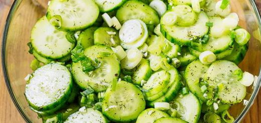 This cucumber salad is tangy, flavorful alternative to the standard lettuce-based salad.