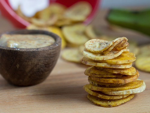 Baked Plantain Chips With Maple Bacon Aioli
