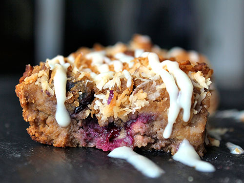 Blueberry Banana Coconut Blondies
