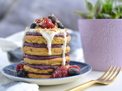Coconut Flour Pancakes With Purple Sweet Potato Spread