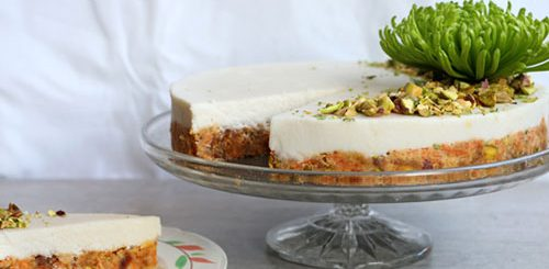 Raw Carrot Cake With Pistachios and Lime-Coconut Frosting