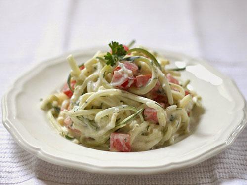 Raw Zucchini Salad With Zippy Tzatziki Dressing