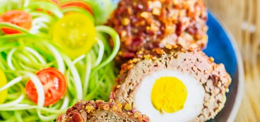 Scotch eggs are great as a warm breakfast or a chilled to-go snack, packed with protein