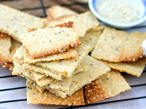 Tahini and Whole Grain Mustard Crackers