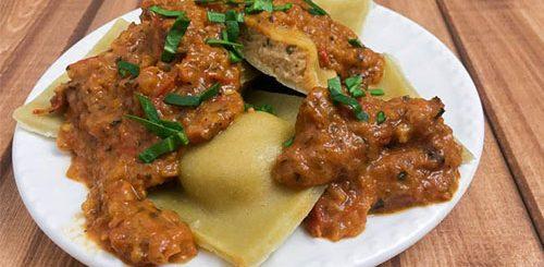 Tomato Basil pesto Ravioli