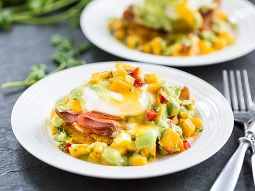 Tostones Eggs Benedict With Mango Salsa and Avocado Hollandaise