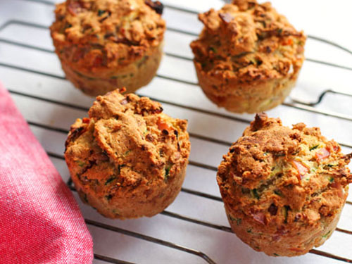 Zucchini, Ham, and Sun-dried Tomato Savory Muffins