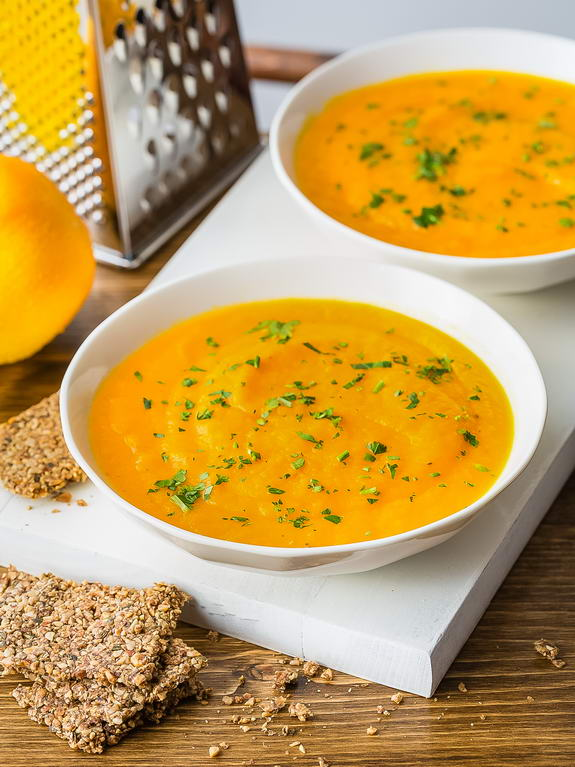 Enjoy delicious healthy eating with this orange carrot soup