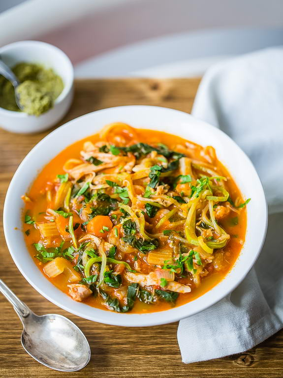 My favorite winter warm up is slowing down and enjoying this Paleo chicken minestrone soup with zucchini noodles.