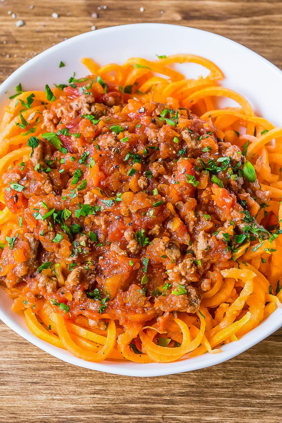 Slow Cooked Bolognese Sauce With Sweet Potato Noodles