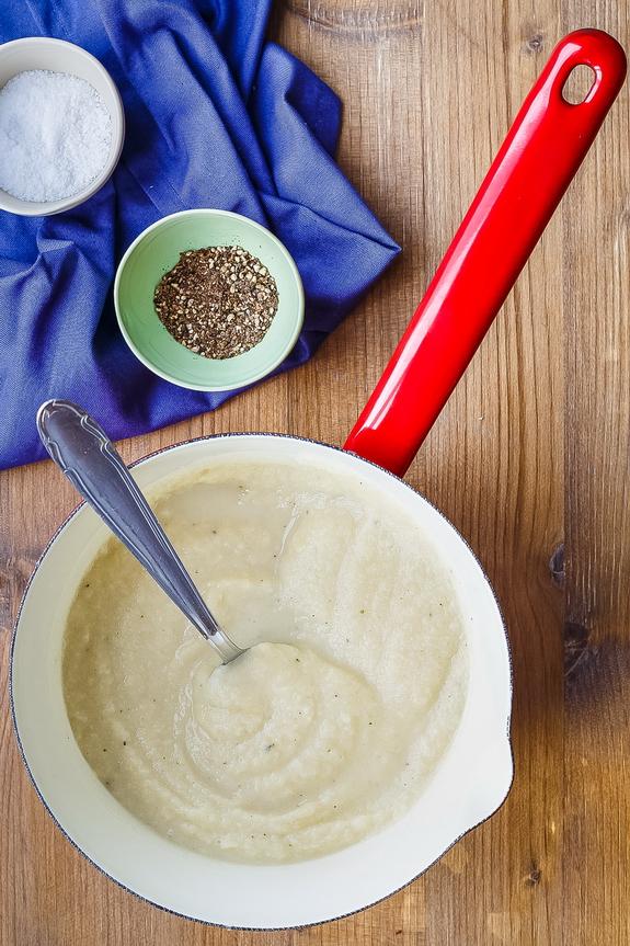 mixing in saucepan