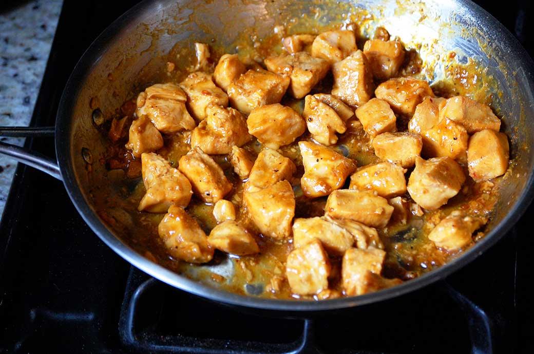 cooking the orange chicken