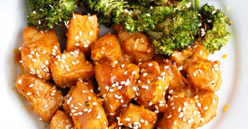 Guilty paleo orange chicken paleo grubs in this lightened up recipe the chicken is not battered and fried as in traditional orange chicken recipes instead chicken breasts are simply pan seared forumfinder Choice Image