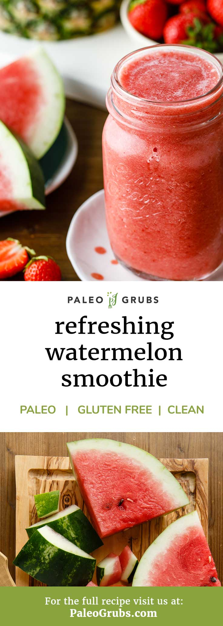 This refreshing paleo pineapple and watermelon smoothie is the perfect low calorie source for daily antioxidants! One of my go to daily smoothies that is both super healthy and yummy too.