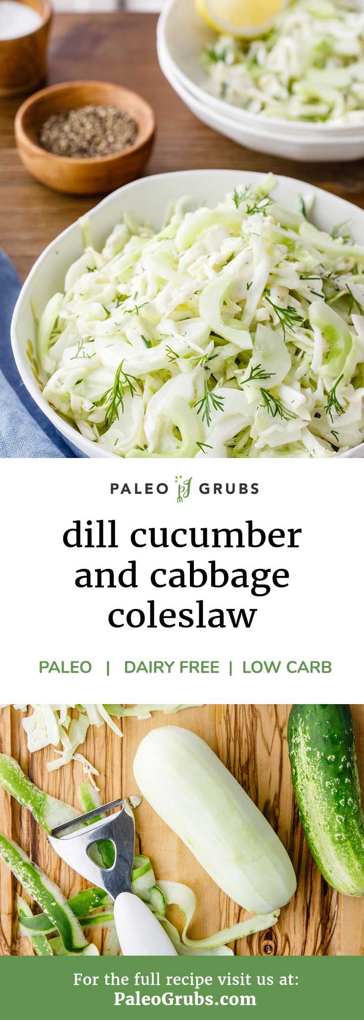 This cucumber and cabbage paleo cole slaw is creamy, crisp and yummy! One of my families paleo staples.
