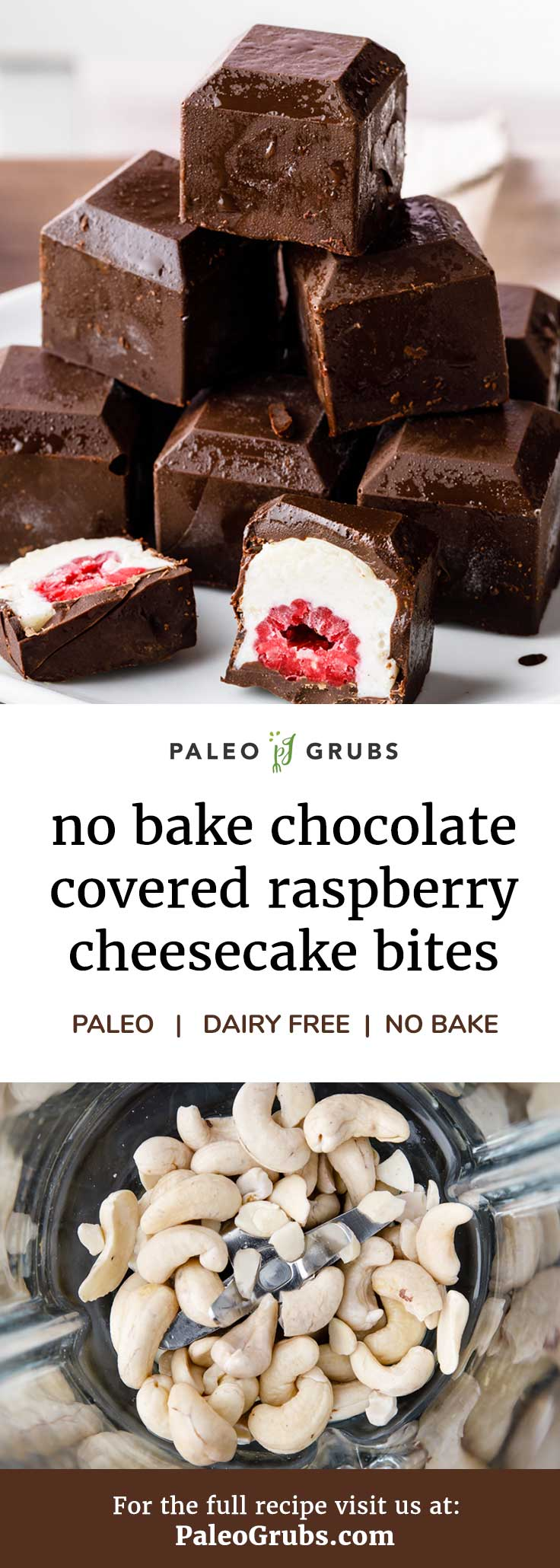 "These little no bake dark chocolate raspberry cheesecake bites are to die for! A must try for anyone that wants a guilt-free Paleo-friendly dessert and loves dark chocolate, creamy ""cheesecake"" and tart raspberries."