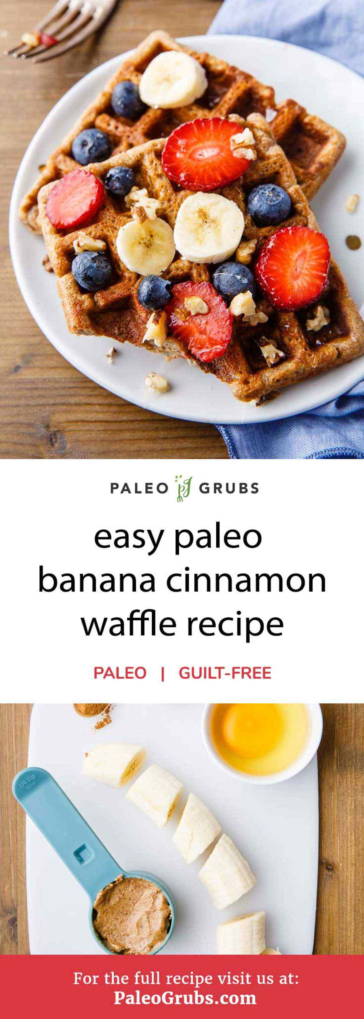You don't have to give up your favorite breakfast meals when switching over to a paleo diet if you just change up a few of the ingredients. By using bananas and almond butter you can actually make healthy breakfast waffles that are also enhanced by adding in some cinnamon for a delightful flavor.