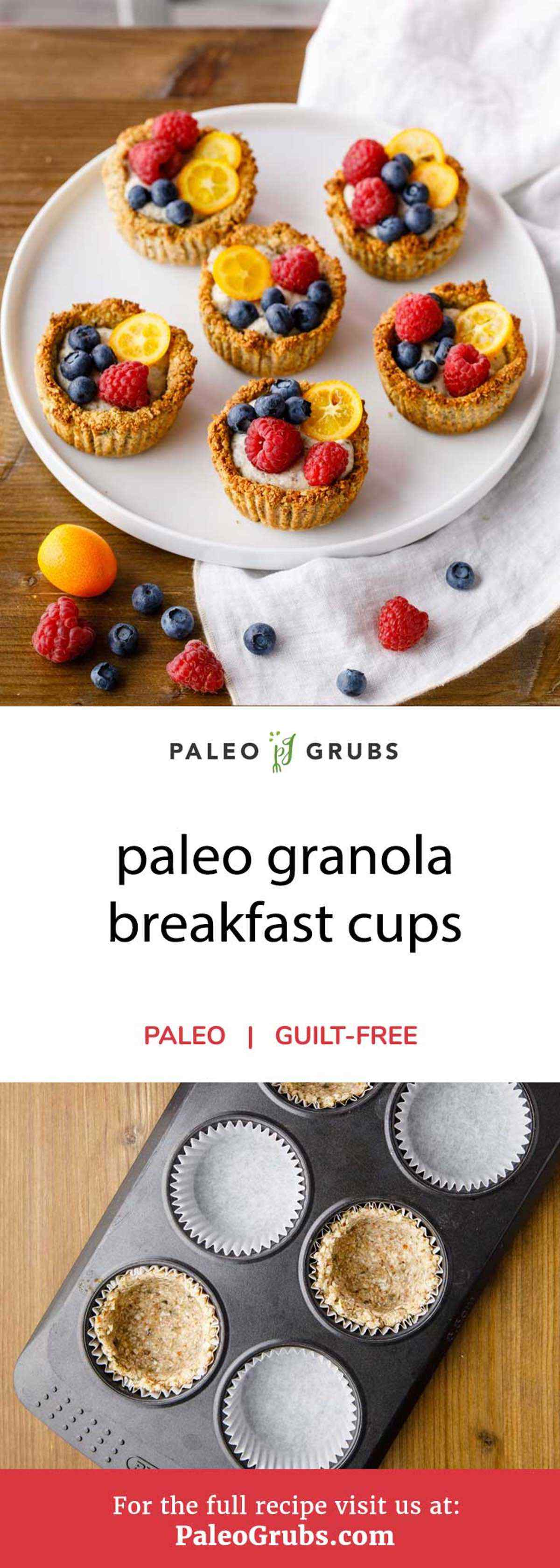 Looking for the perfect paleo-friendly breakfast option to grab and go? These granola breakfast cups have the perfect combination of nuts and seeds for a fantastic granola base while also using chia seeds and cashews for a yummy replacement for regular yogurt. They're a terrific gluten and dairy-free breakfast cup that can be enjoyed by anyone.