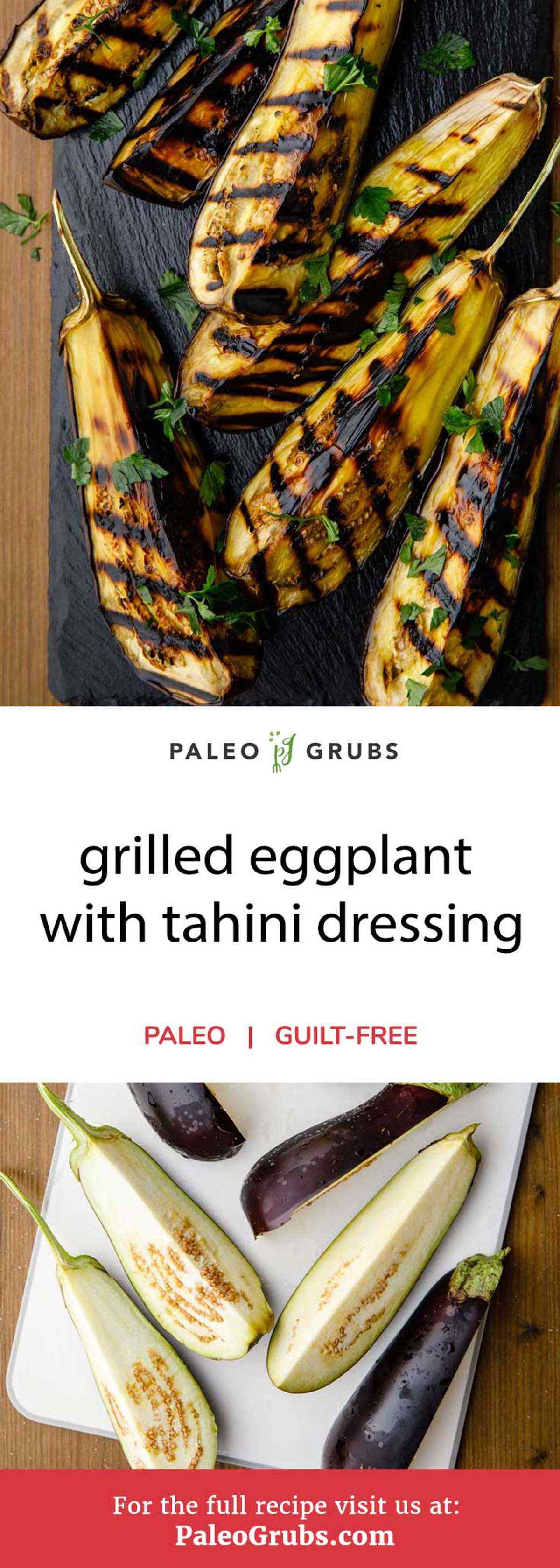 Middle Eastern cuisine is full of wonderfully healthy meals that are loaded with flavors, and this grilled eggplant with tahini dressing recipe is no exception. The dressing is made from scratch using tahini along with several other tasty ingredients like lemon juice, sesame seeds, garlic, and parsley.