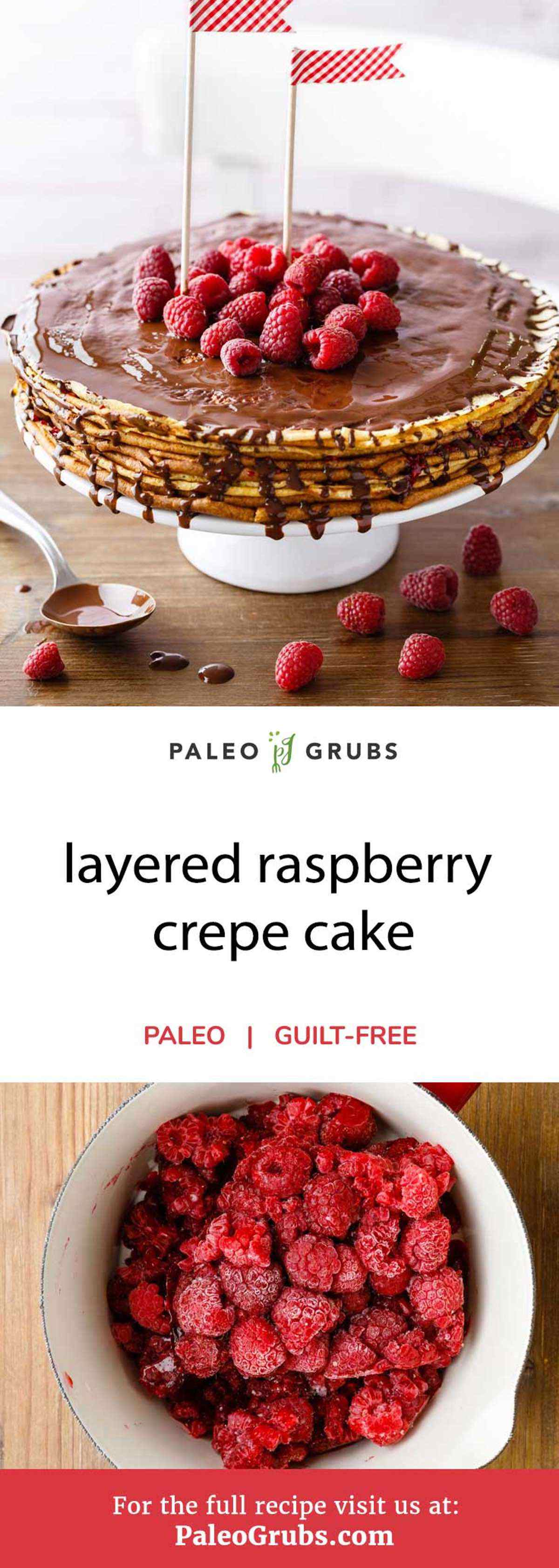 Crepes are an extremely versatile pastry snack. They can be enjoyed for breakfast or as a mid-afternoon snack in equal measure. In order to make them appropriate for paleo dieters to enjoy, this recipe makes raspberry crepe cakes with homemade crepes, raspberry jam, and an optional chocolate glaze. It's one part sweet treat, one part health food, and 100% delicious.