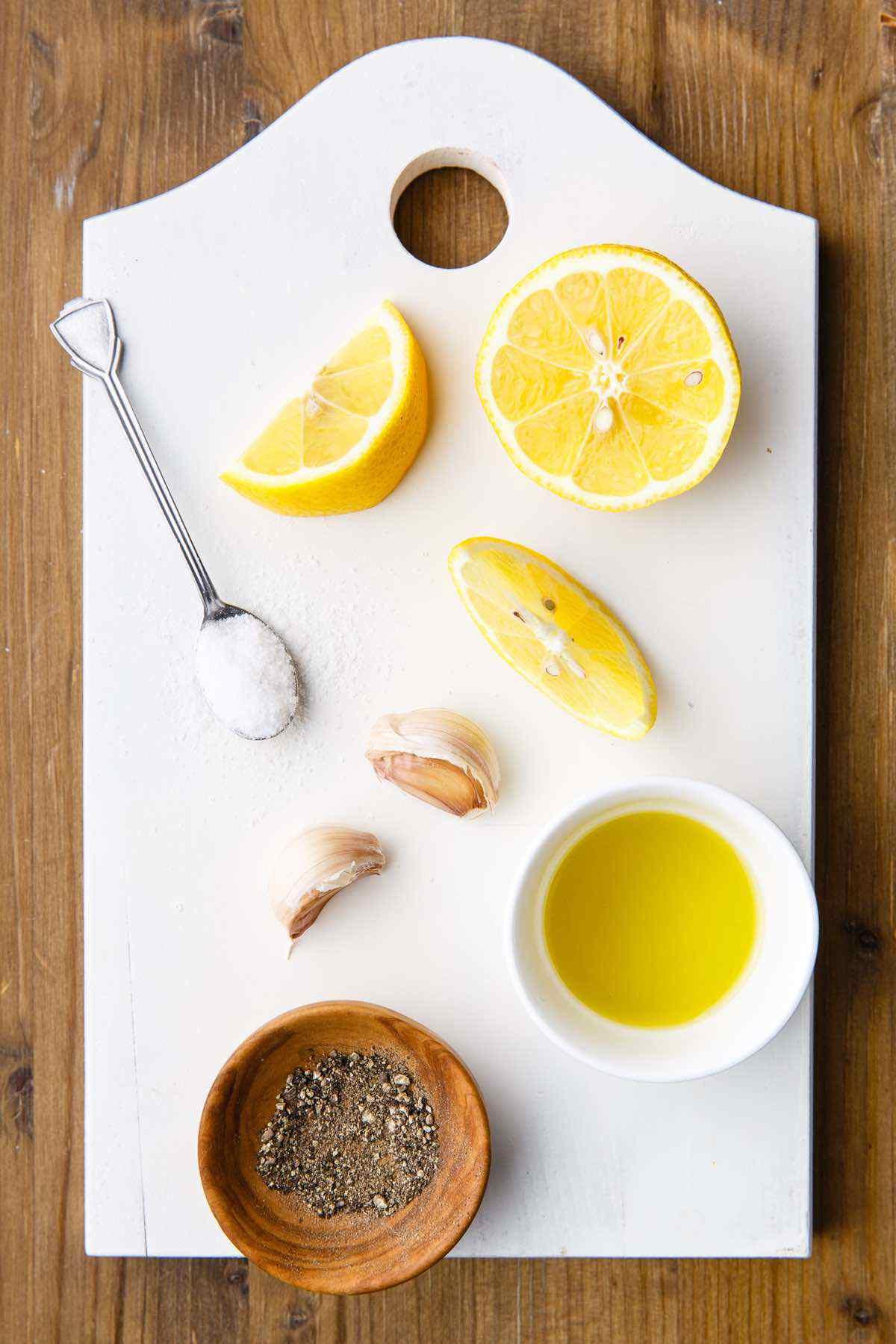 prepping lemon and garlic