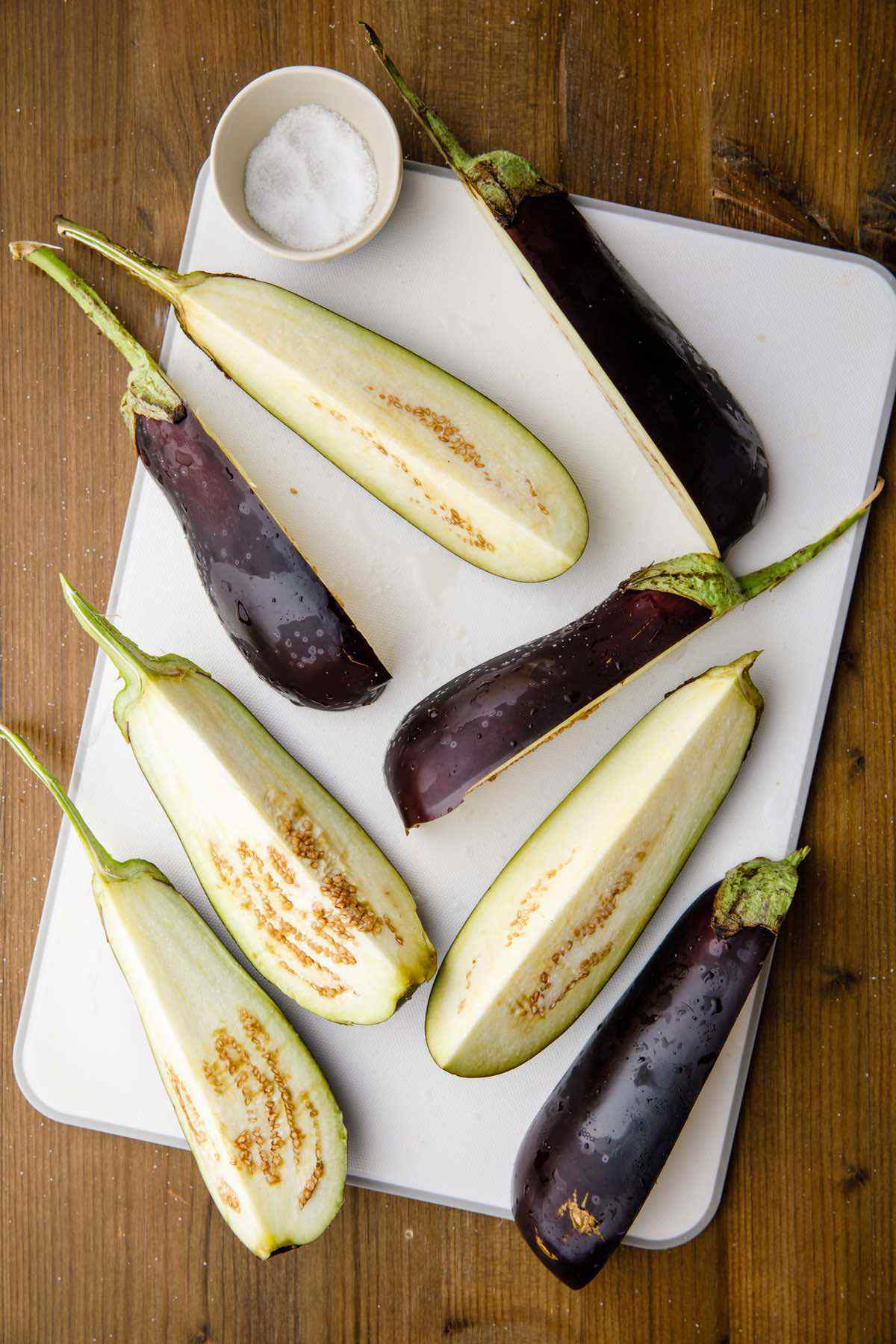 prepping raw eggplant