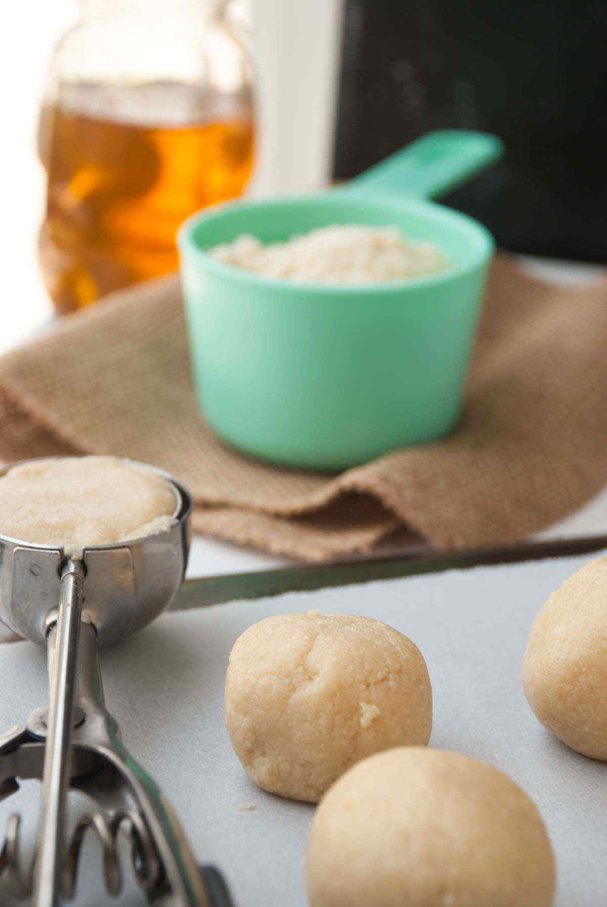 prepping thumbprint cookie dough