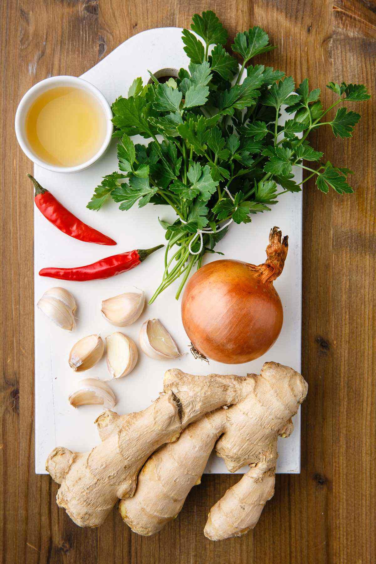 bone broth ingredient prep