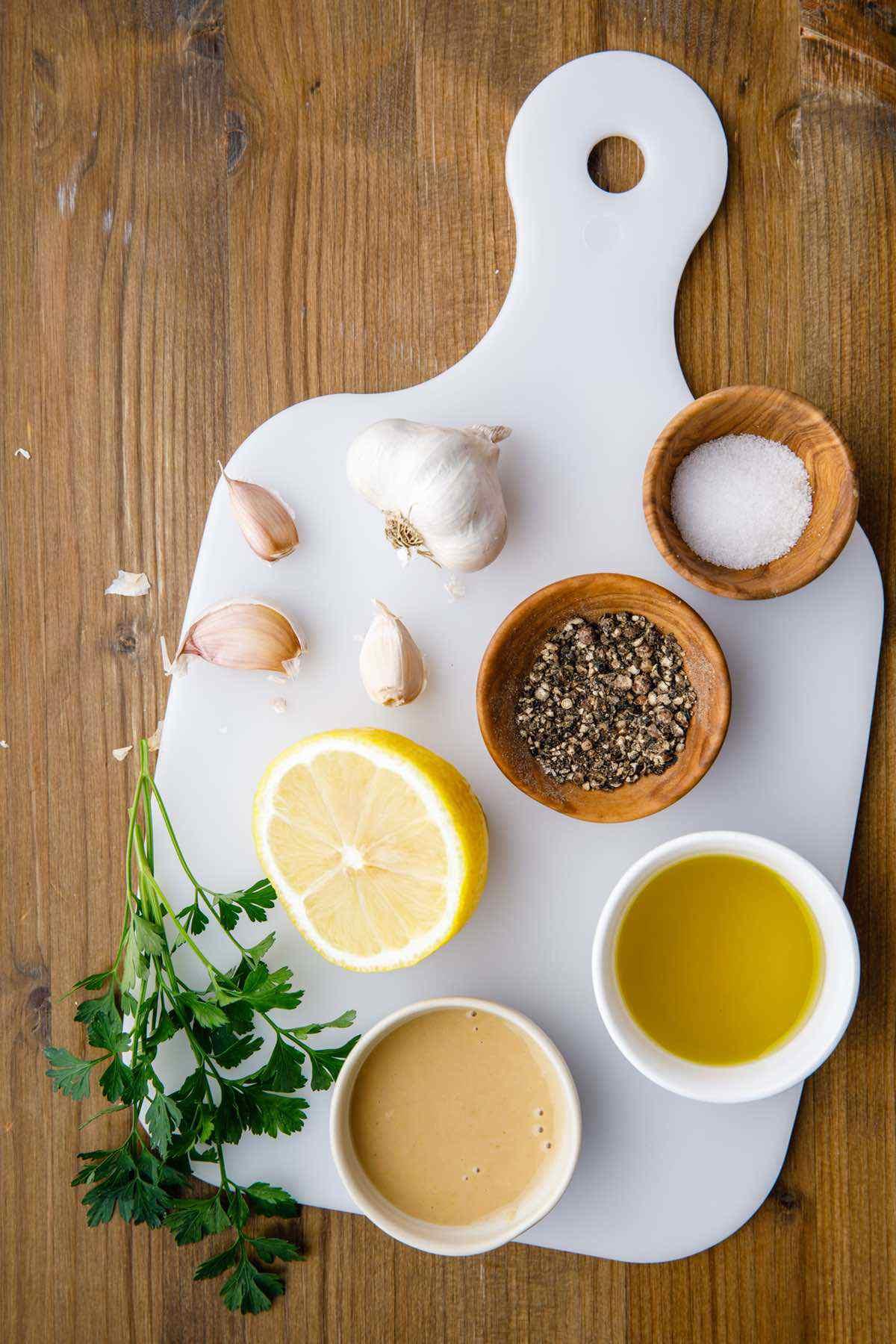 prepping ingredients for tahini dressing