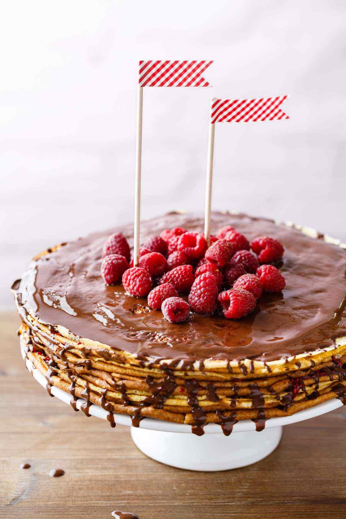 baked raspberry crepe cake