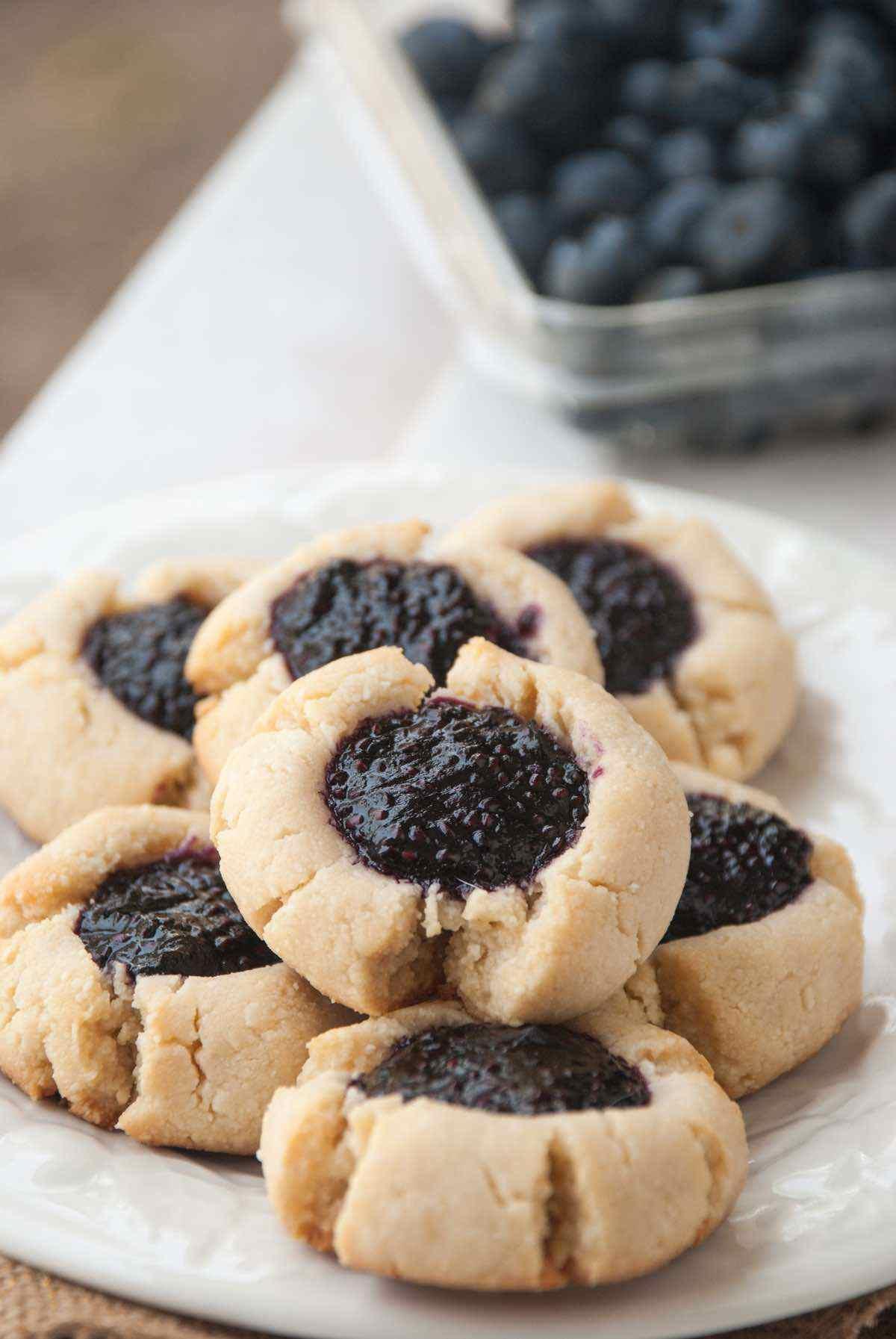 paleo blueberry chia thumbprint cookie recipe