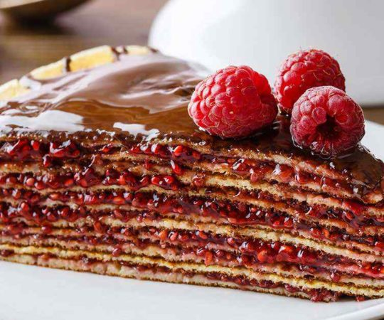 Layered Raspberry Crepe Cake
