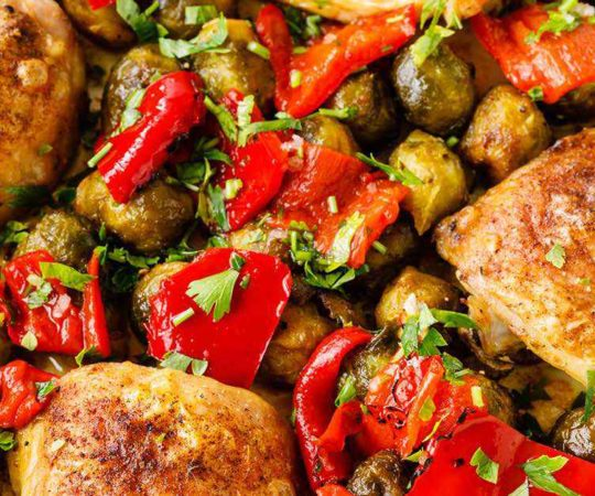 One Pan-Chicken Thighs with Roasted Peppers