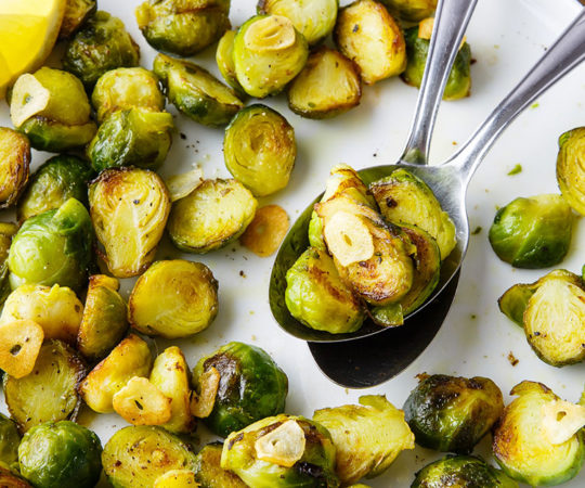 Pan Fried Brussels Sprouts with Garlic and Lemon