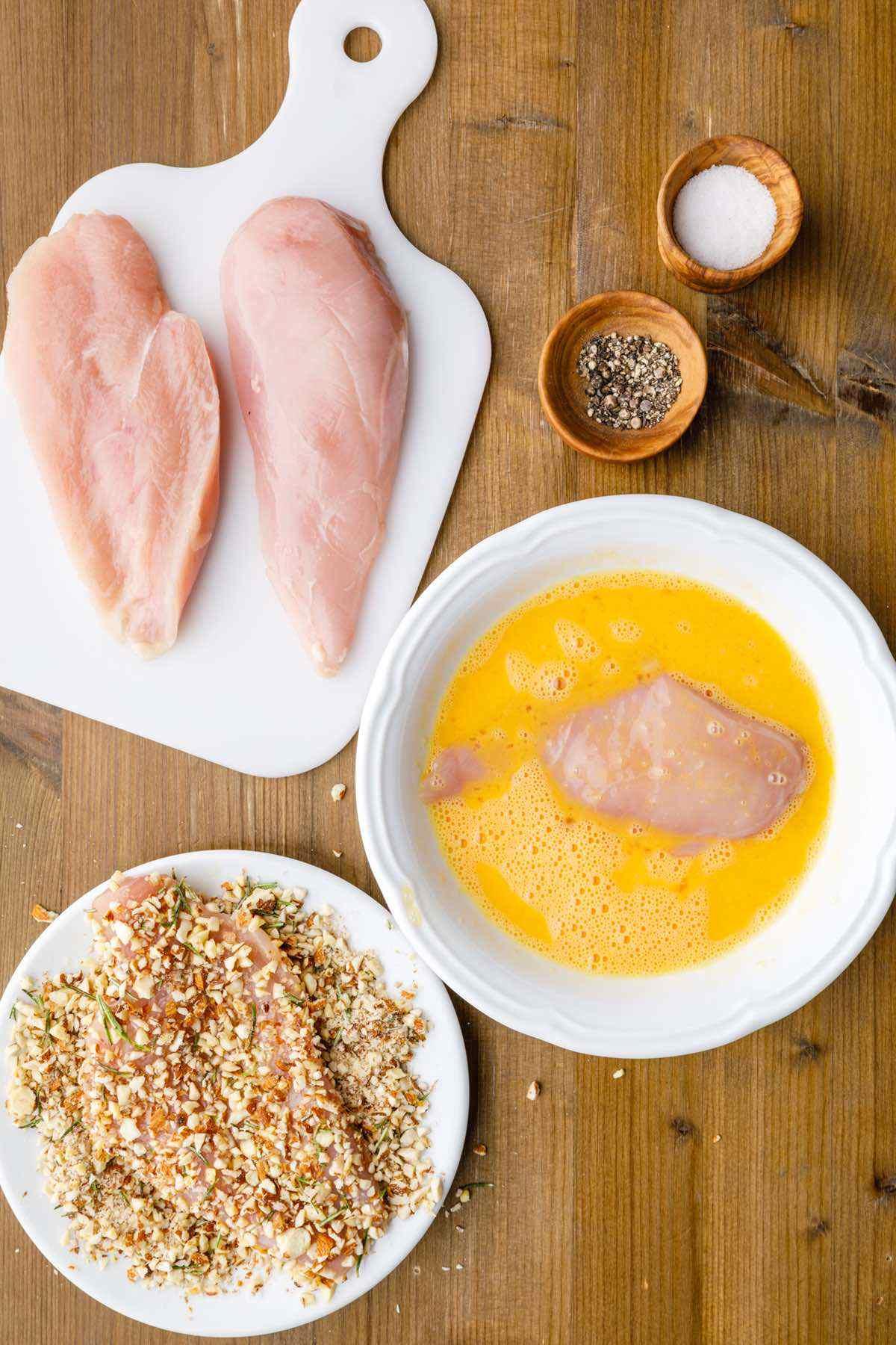 almond chicken prep