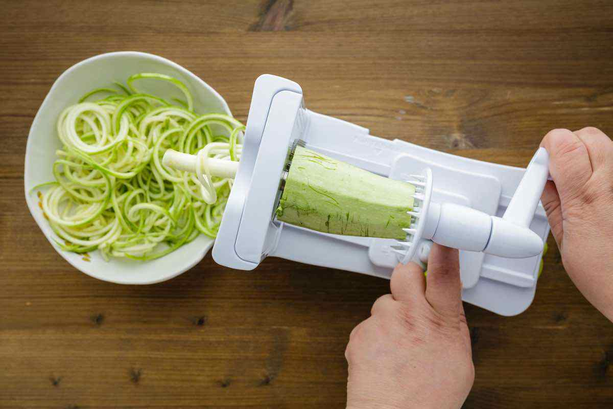 prepping zucchini noodles