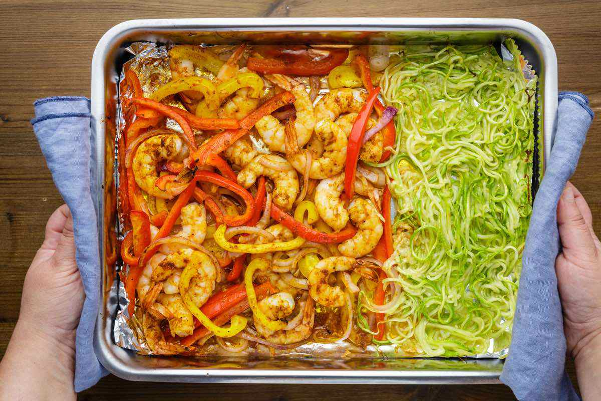 baking shrimp and zucchini noodles sheet pan
