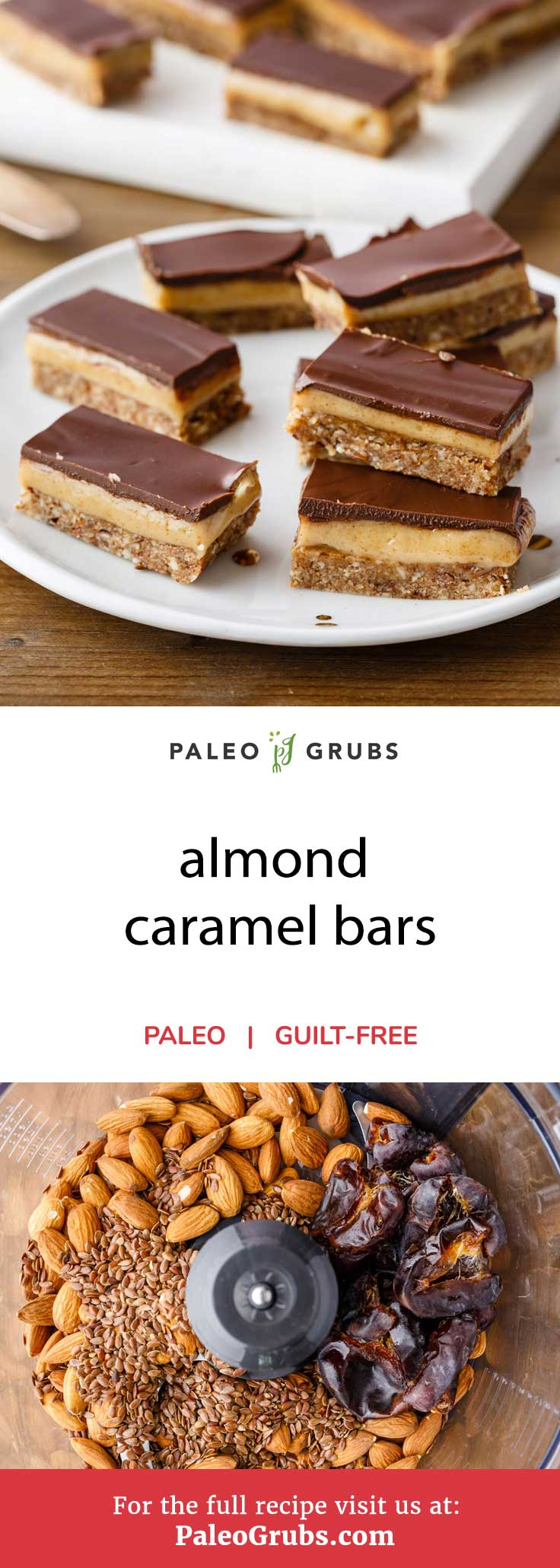 Just wait until you try out these completely paleo-friendly almond caramel bars. They've got a wonderful base, caramel, and chocolate glaze that are all made completely from scratch. They make a great tasty snack that will fuel your body with plenty of energy thanks to all of the healthy ingredients they are made with.