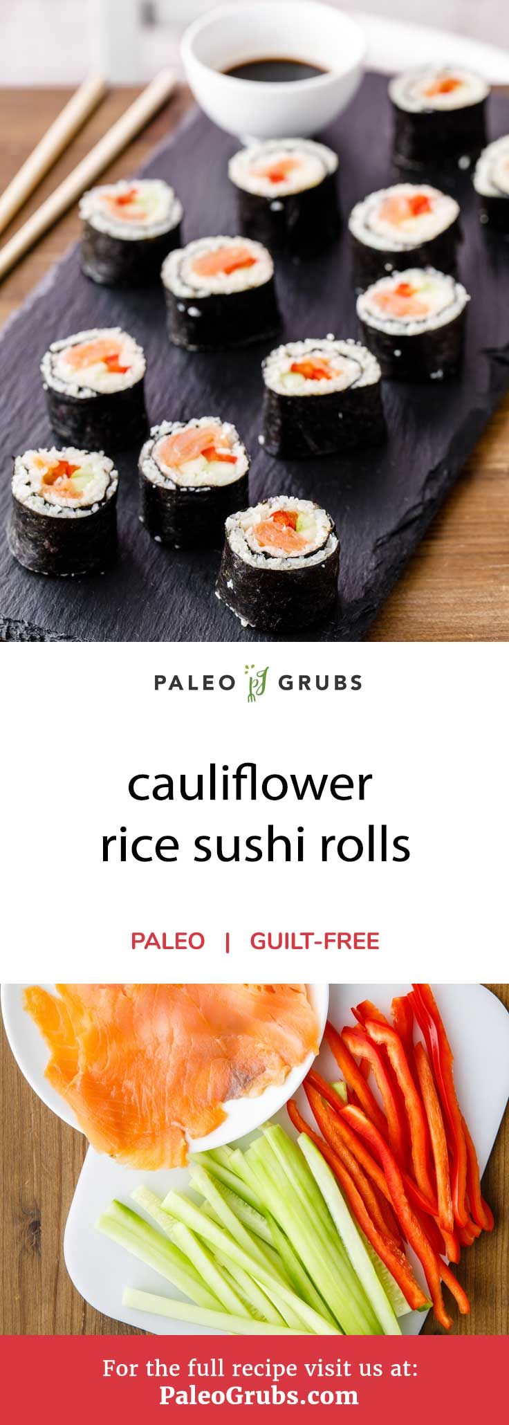 Thanks to cauliflower rice, there's finally a 100% paleo-friendly sushi recipe available. Other than replacing white sticky rice commonly found in sushi with cauliflower florets, this recipe features everything else you'd expect to find when making tasty sushi. It uses smoked salmon, fresh veggies, and even adds apple cider vinegar and honey into the mix. The end result is a delightful low carb cauliflower rice sushi roll that will please even the most hardened of sushi critics out there.
