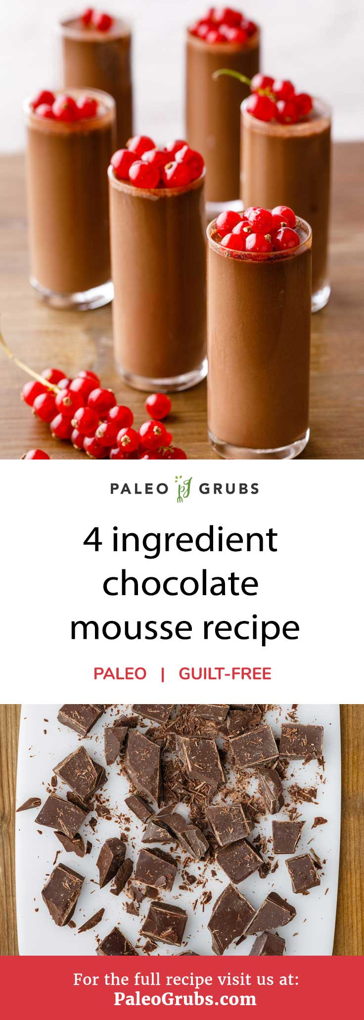 Chocolate mousse is one of those desserts that's almost too perfect. It can be light and fluffy, or thick and creamy depending on how you make it. Today I've got a delightful paleo-friendly version that requires only four ingredients to make one outstanding mousse. Best of all? It only takes about 15 minutes to prepare.