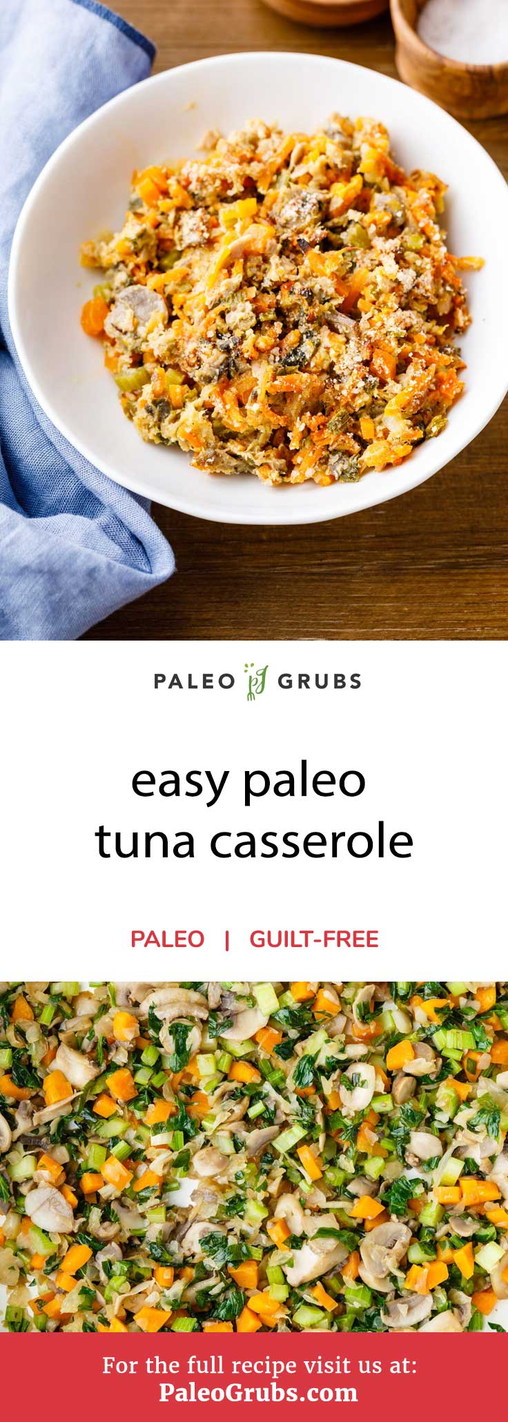 Paleo-friendly tuna casserole is an excellent meal to prepare that provides you with plenty of protein and omega-3 fatty acids. Typically, casserole dishes are made with pasta noodles but this recipe adds a unique paleo twist to the formula by swapping them out for spiralized sweet potatoes instead. The casserole is rounded out by including more healthy veggies like celery, carrots, and mushrooms. And just wait until you try the homemade sauce.