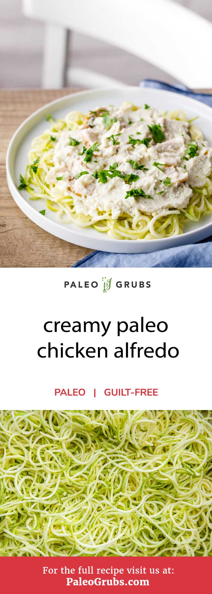 A chicken alfredo plate from a restaurant like Olive Garden is absolutely loaded with calories: 1440 calories to be exact with more than half of them coming from fat. It's also incredibly high in carbs, so there is no doubt in my mind that paleo dieters are better off with this low-carb, all-natural alternative. It is proof that you can still enjoy a delicious chicken alfredo without violating a gazillion paleo guidelines. Bonus points: this recipe is low in calories, so you can eat a good amount of it without spending too many of your calories.