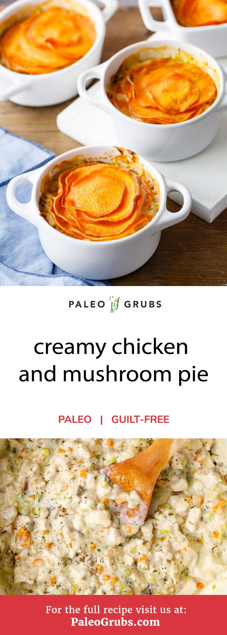 This creamy chicken and mushroom pie recipe has everything that you could want in a delicious paleo-friendly meal: a fantastic homemade crust made with sweet potatoes, plenty of protein from the chicken, a great mixture of vegetables, and an awesome creamy mushroom sauce that rounds the whole thing out.This meat and veggie pie uses sweet potato for a pie crust while being absolutely loaded with healthy veggies and chicken in a creamy mushroom sauce.