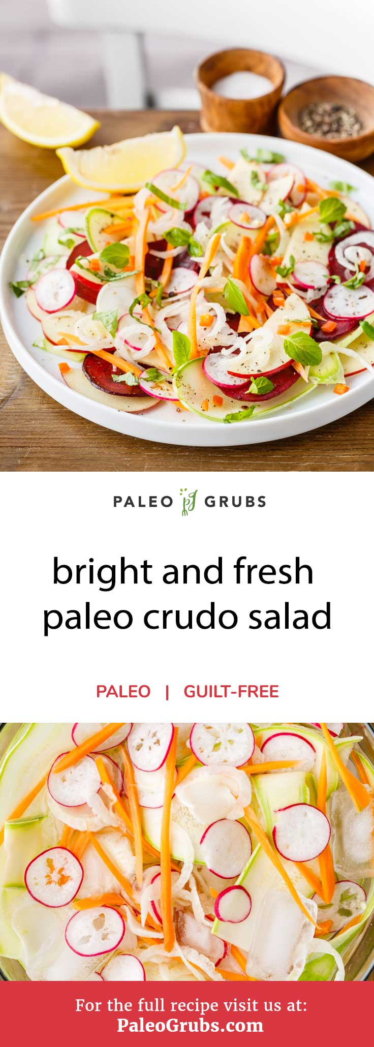 Looking for a bright and colorful salad recipe that's full of healthy fruits and veggies served raw? This crudo salad is just what you're looking for then. It's got everything from carrots to apples all the way on to even beetroot. It makes for a perfect appetizer or a light and healthy snack option, and it's 100% paleo-friendly and vegan-friendly as well.