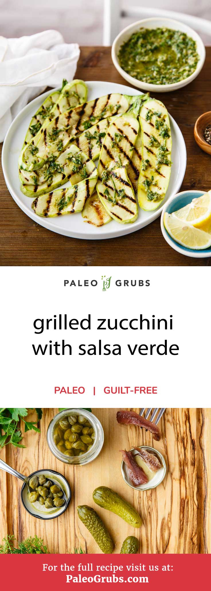 As much as I love to eat zucchini raw, there's definitely something to be said for cooking it. When you grill zucchini, I find it really brings the taste of this vegetable out while giving it a nice, crispy bite. This grilled zucchini with salsa verde is definitely proof of that. The homemade paleo-friendly salsa verde sauce is full of flavors thanks to the great ingredients used, including garlic, capers, anchovy fillets, parsley, dill, lemon juice, cornichons, and dijon mustard.
