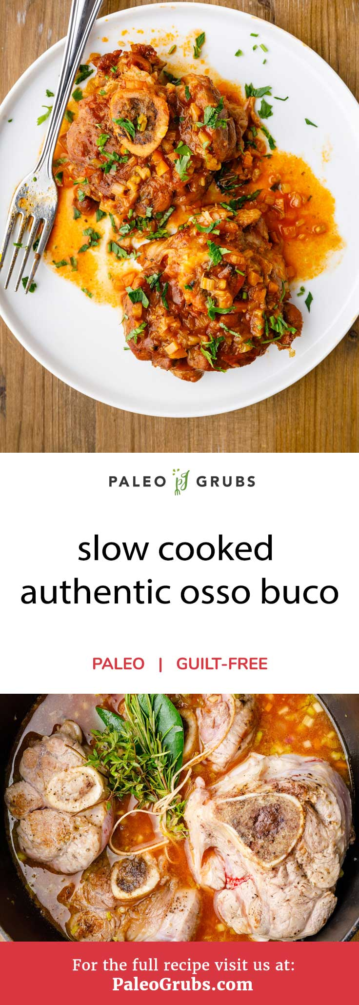 Osso buco is a delectable meal from Milan, featuring juicy pieces of veal shanks that have been cooked in a delicious mixture of vegetables, broth, and traditionally, wine. This recipe makes it a touch more paleo-friendly by leaving the wine out of the equation and replacing it with apple cider vinegar, while still keeping every other delicious ingredient that you would expect to find in a good osso buco dish.