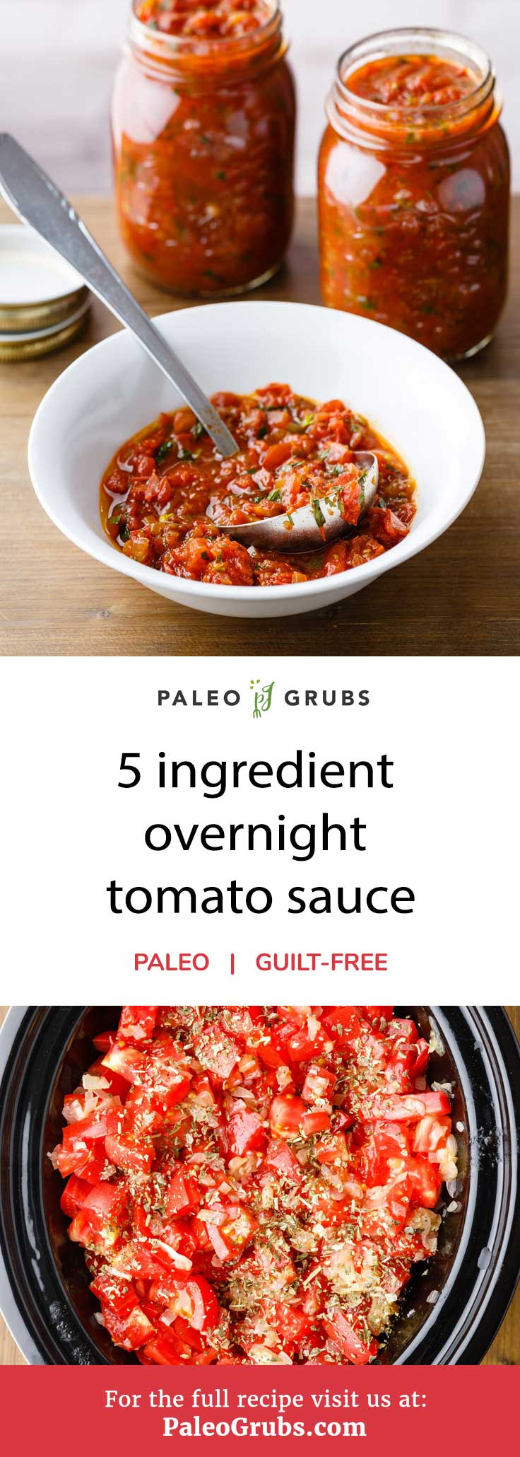 Stop worrying if the tomato sauce you find on store shelves is appropriate for your paleo diet and just some of your very own with this easy to follow recipe. It's a simple 5 ingredient overnight tomato sauce that features all natural ingredients with no artificial additives whatsoever. You can even use honey to sweeten it to your preferred taste.