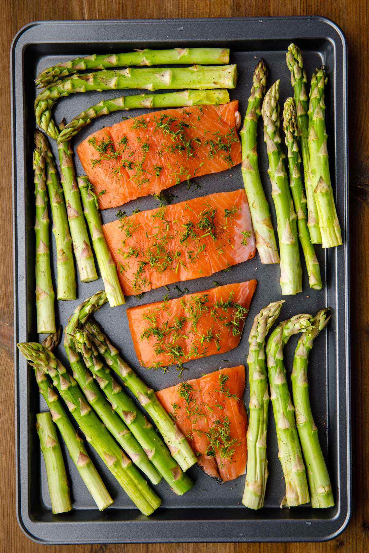 getting salmon and asparagus ready