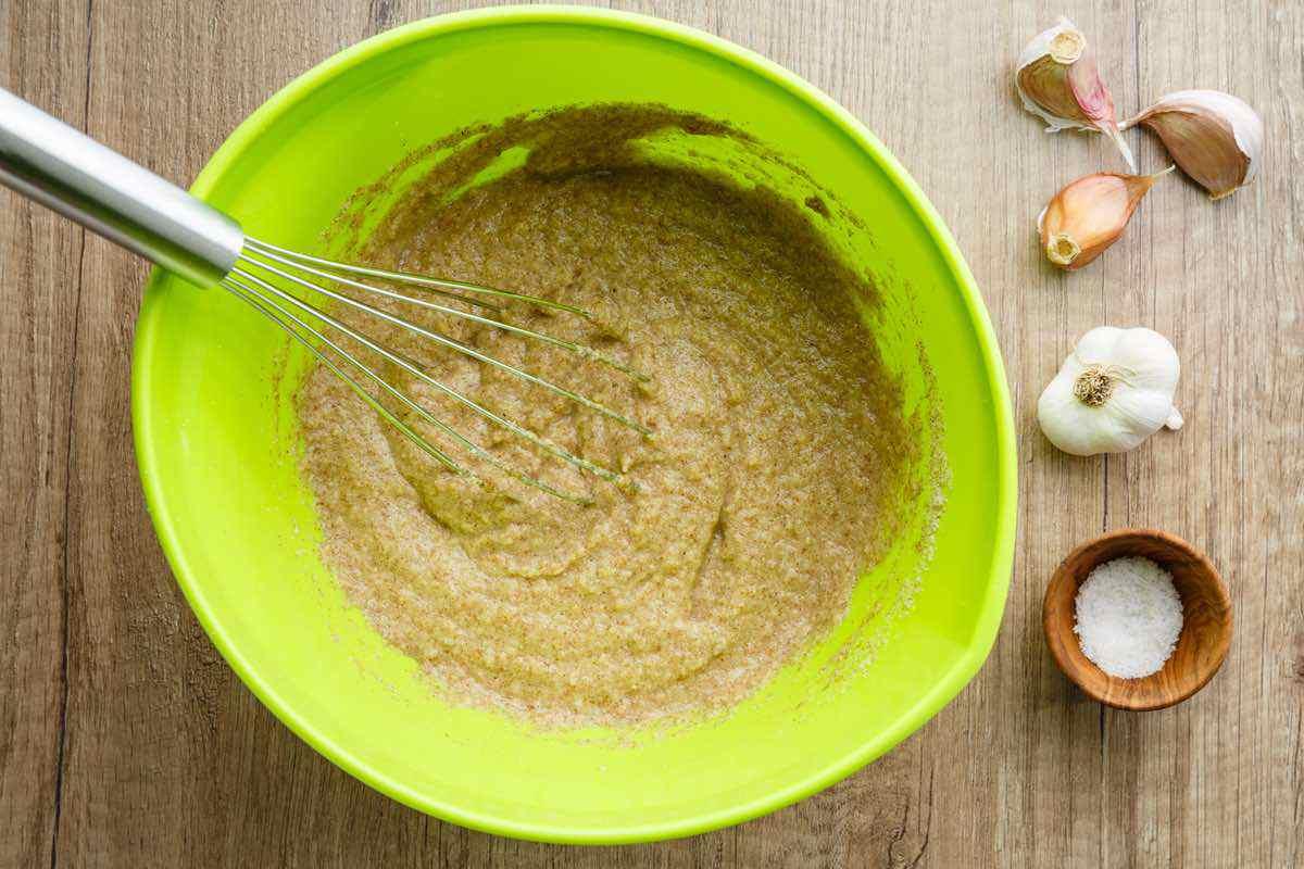 mixing garlic bread dough